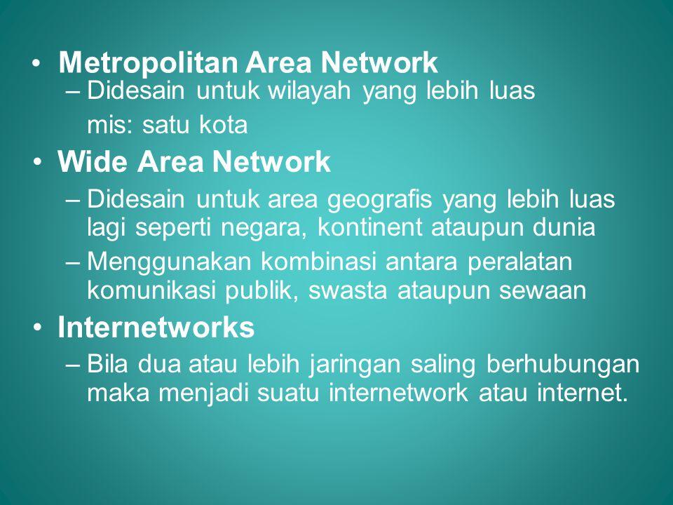 • Metropolitan Area Network –Didesain untuk wilayah yang lebih luas mis: satu kota •Wide Area Network –Didesain untuk area geografis yang lebih luas l
