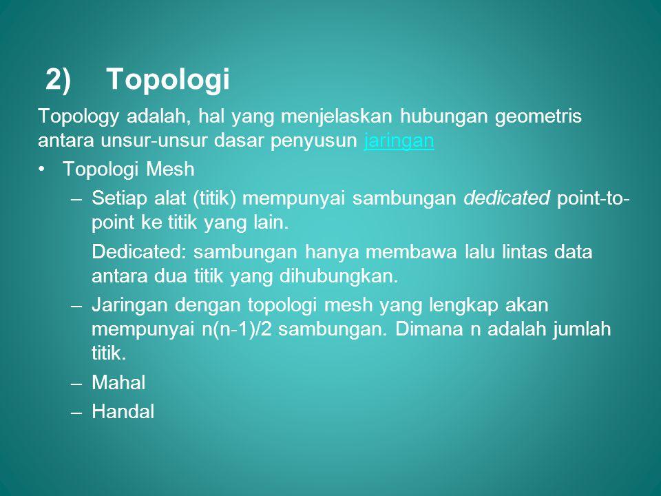 2)Topologi Topology adalah, hal yang menjelaskan hubungan geometris antara unsur-unsur dasar penyusun jaringanjaringan •Topologi Mesh –Setiap alat (ti