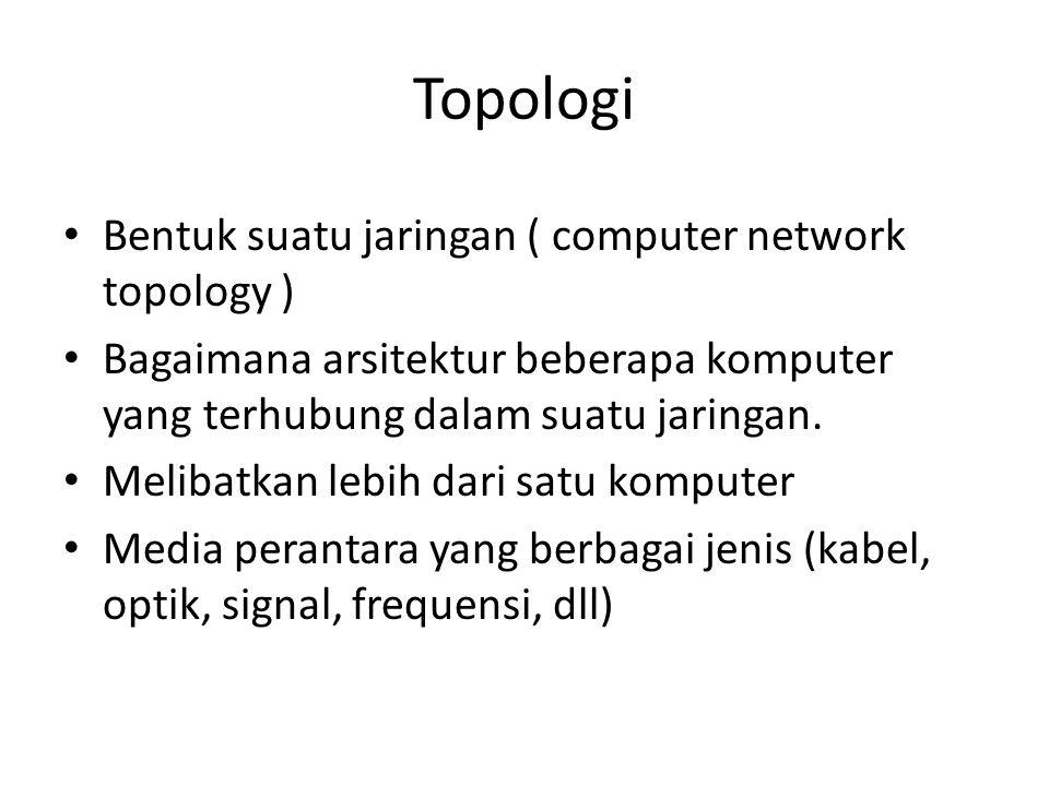 Topologi • Bentuk suatu jaringan ( computer network topology ) • Bagaimana arsitektur beberapa komputer yang terhubung dalam suatu jaringan. • Melibat