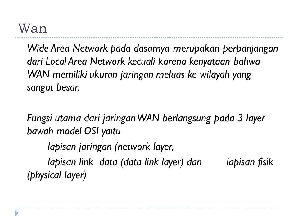 Wan Wide Area Network pada dasarnya merupakan perpanjangan dari Local Area Network kecuali karena kenyataan bahwa WAN memiliki ukuran jaringan meluas ke wilayah yang sangat besar.