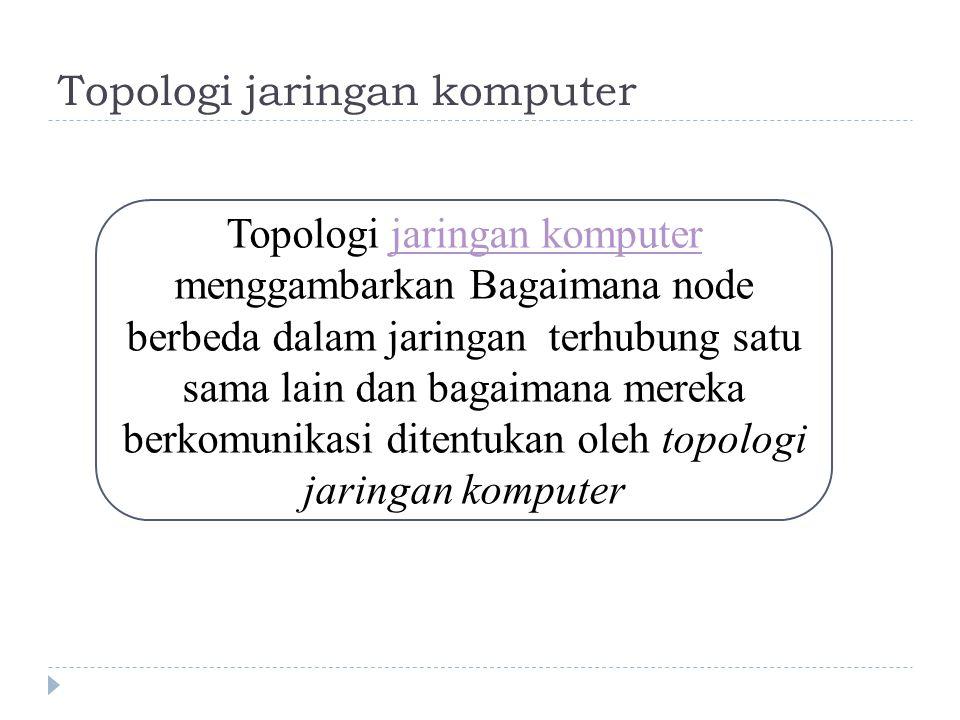 Topologi jaringan komputer Topologi jaringan komputer menggambarkan Bagaimana node berbeda dalam jaringan terhubung satu sama lain dan bagaimana mereka berkomunikasi ditentukan oleh topologi jaringan komputerjaringan komputer