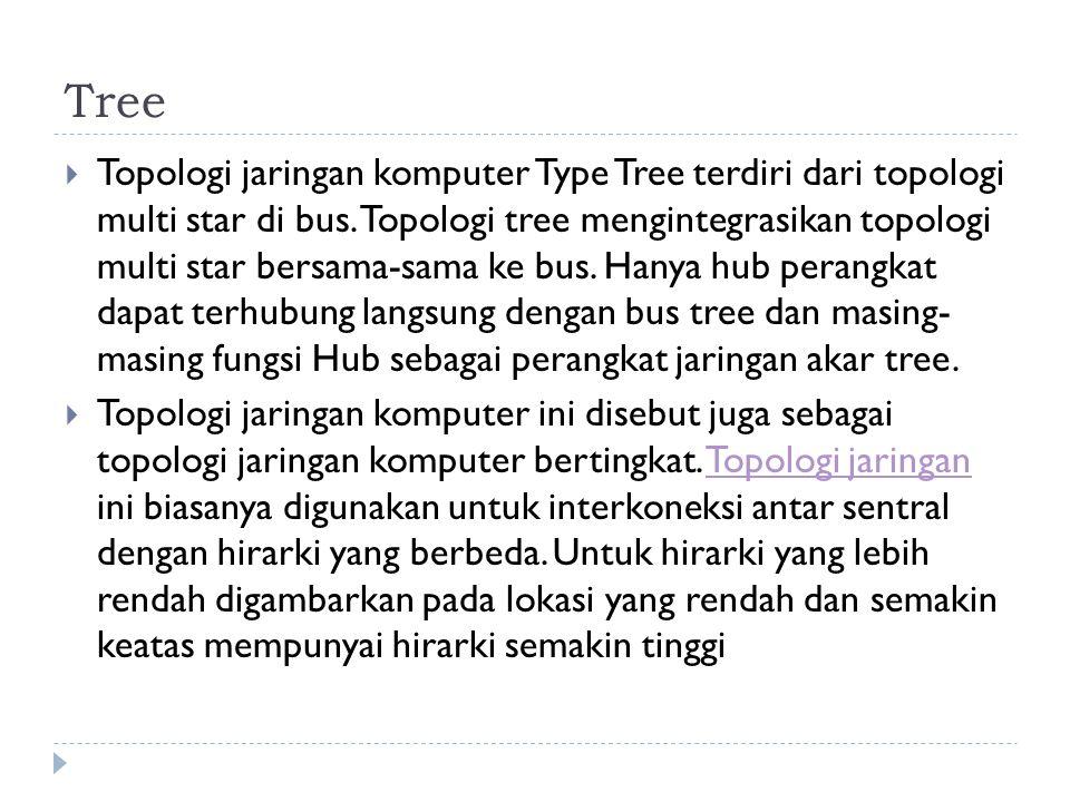Tree  Topologi jaringan komputer Type Tree terdiri dari topologi multi star di bus.