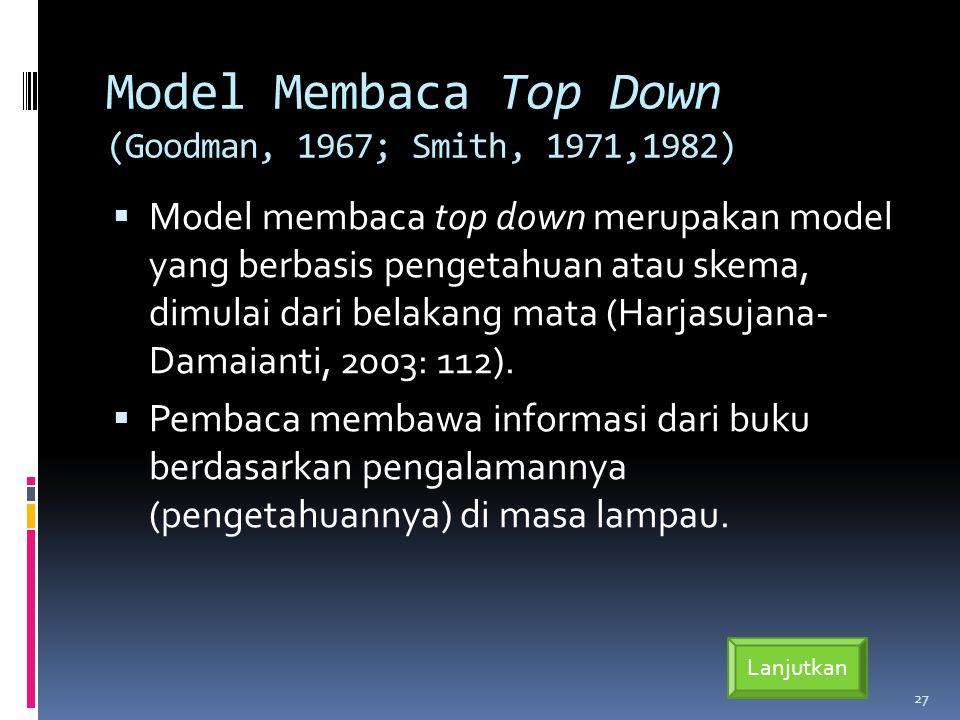 Model Membaca Top Down (Goodman, 1967; Smith, 1971,1982)  Model membaca top down merupakan model yang berbasis pengetahuan atau skema, dimulai dari belakang mata (Harjasujana- Damaianti, 2003: 112).