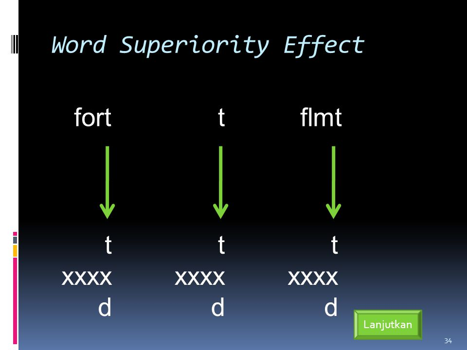 Word Superiority Effect 34 Lanjutkan fort t xxxx d t t xxxx d flmt t xxxx d