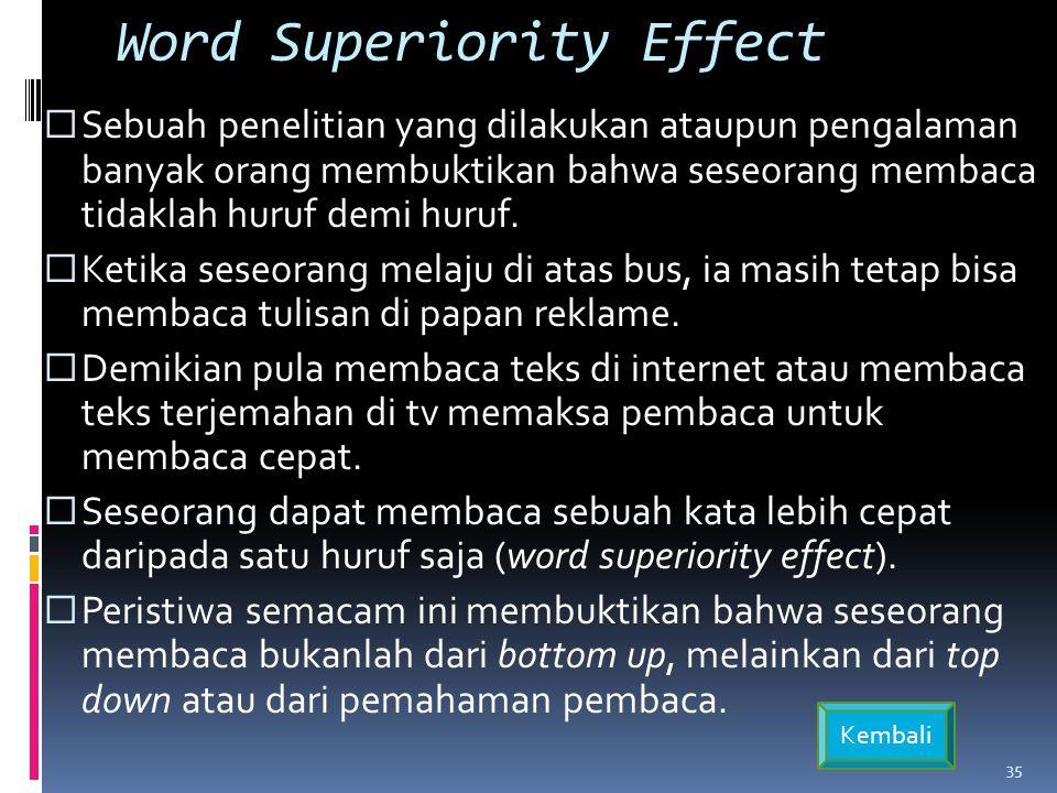 Word Superiority Effect  Sebuah penelitian yang dilakukan ataupun pengalaman banyak orang membuktikan bahwa seseorang membaca tidaklah huruf demi huruf.