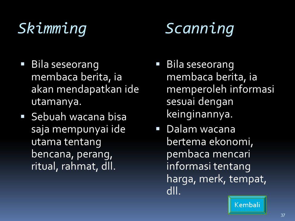 SkimmingScanning  Bila seseorang membaca berita, ia akan mendapatkan ide utamanya.