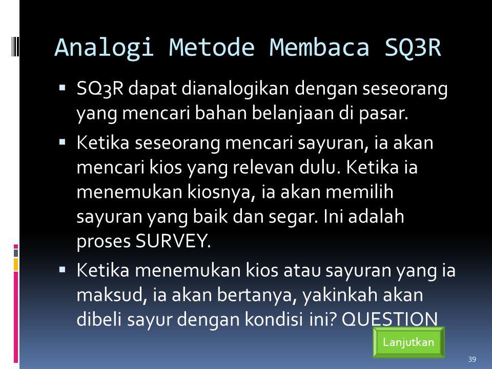 Analogi Metode Membaca SQ3R  SQ3R dapat dianalogikan dengan seseorang yang mencari bahan belanjaan di pasar.