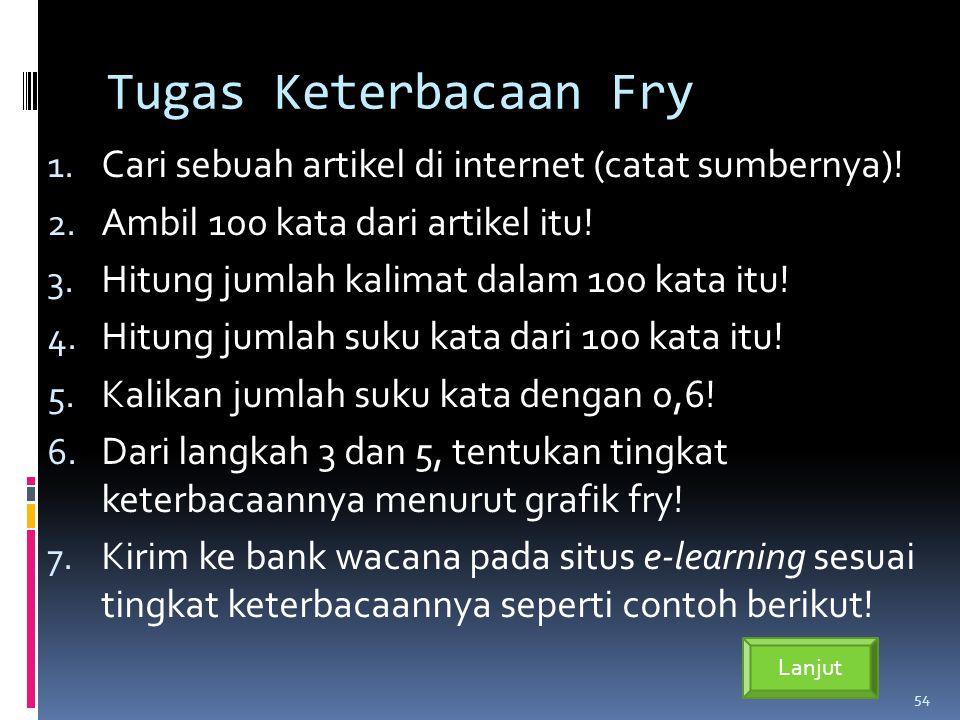 Tugas Keterbacaan Fry 1.Cari sebuah artikel di internet (catat sumbernya).