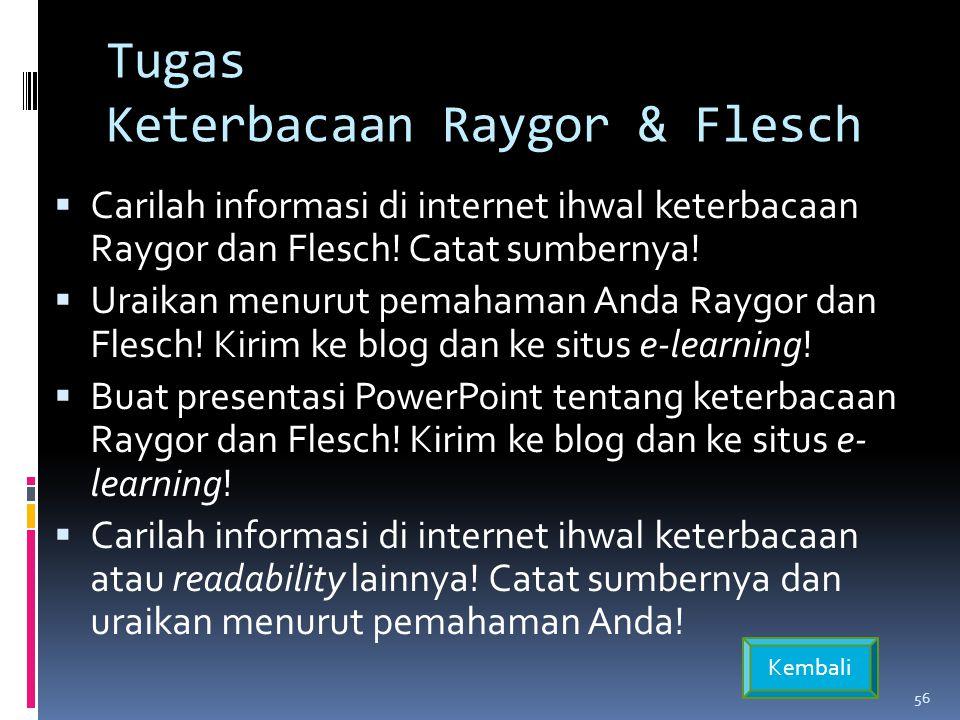 Tugas Keterbacaan Raygor & Flesch  Carilah informasi di internet ihwal keterbacaan Raygor dan Flesch.