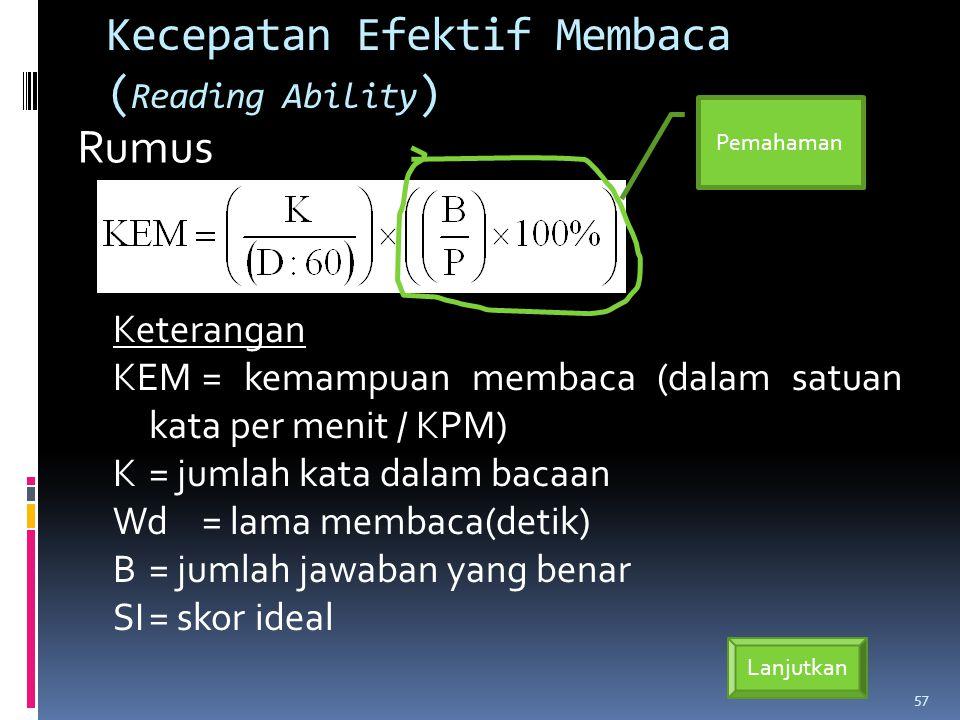 Kecepatan Efektif Membaca ( Reading Ability ) Keterangan KEM= kemampuan membaca (dalam satuan kata per menit / KPM) K= jumlah kata dalam bacaan Wd= lama membaca(detik) B= jumlah jawaban yang benar SI= skor ideal 57 Rumus Lanjutkan Pemahaman