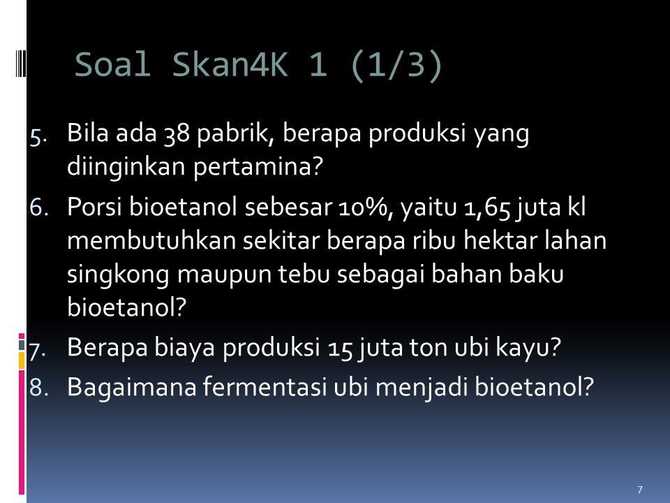 Soal Skan4K 1 (1/3) 5.Bila ada 38 pabrik, berapa produksi yang diinginkan pertamina.
