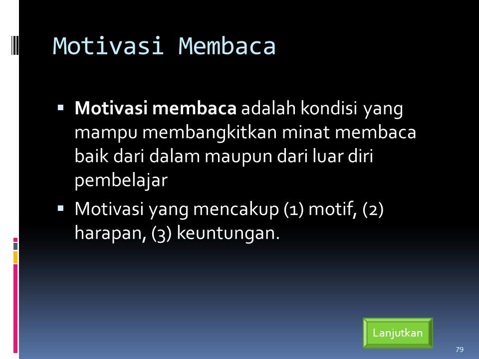 Motivasi Membaca  Motivasi membaca adalah kondisi yang mampu membangkitkan minat membaca baik dari dalam maupun dari luar diri pembelajar  Motivasi yang mencakup (1) motif, (2) harapan, (3) keuntungan.