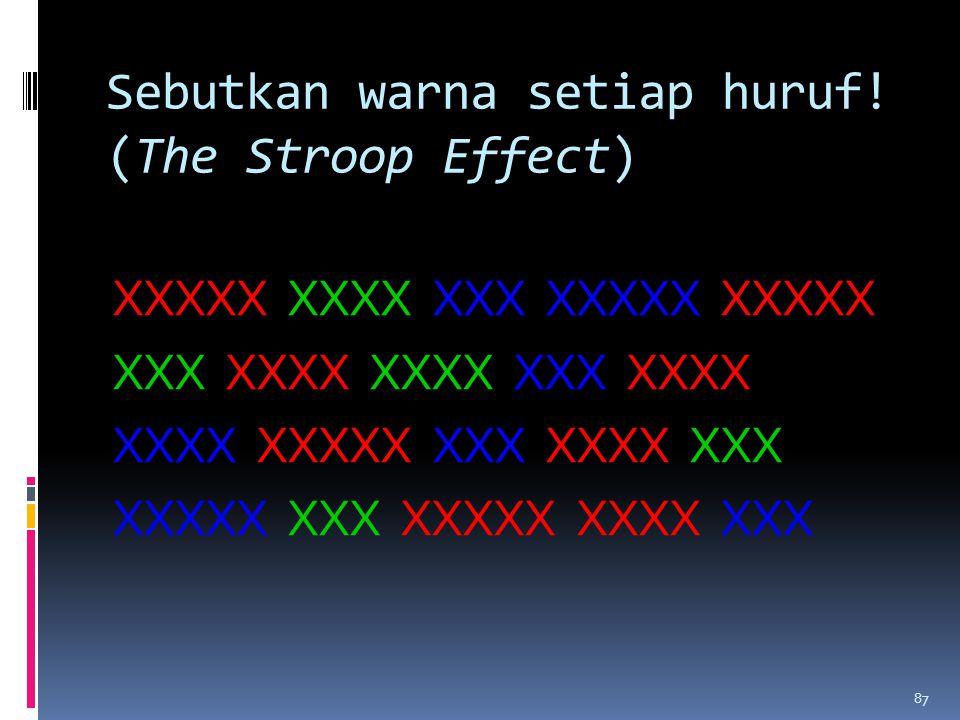 Sebutkan warna setiap huruf.