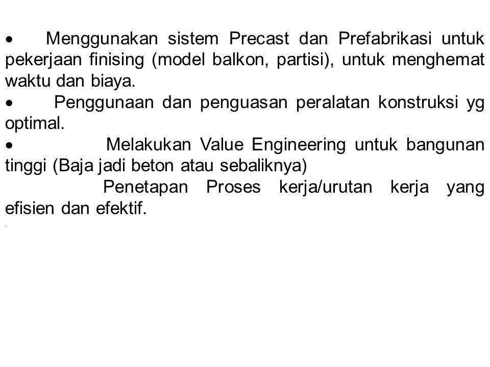  Menggunakan sistem Precast dan Prefabrikasi untuk pekerjaan finising (model balkon, partisi), untuk menghemat waktu dan biaya.  Penggunaan dan peng