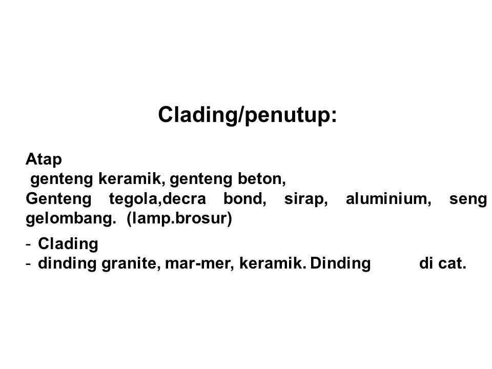 Clading/penutup: Atap genteng keramik, genteng beton, Genteng tegola,decra bond, sirap, aluminium, seng gelombang. (lamp.brosur) -Clading -dinding gra