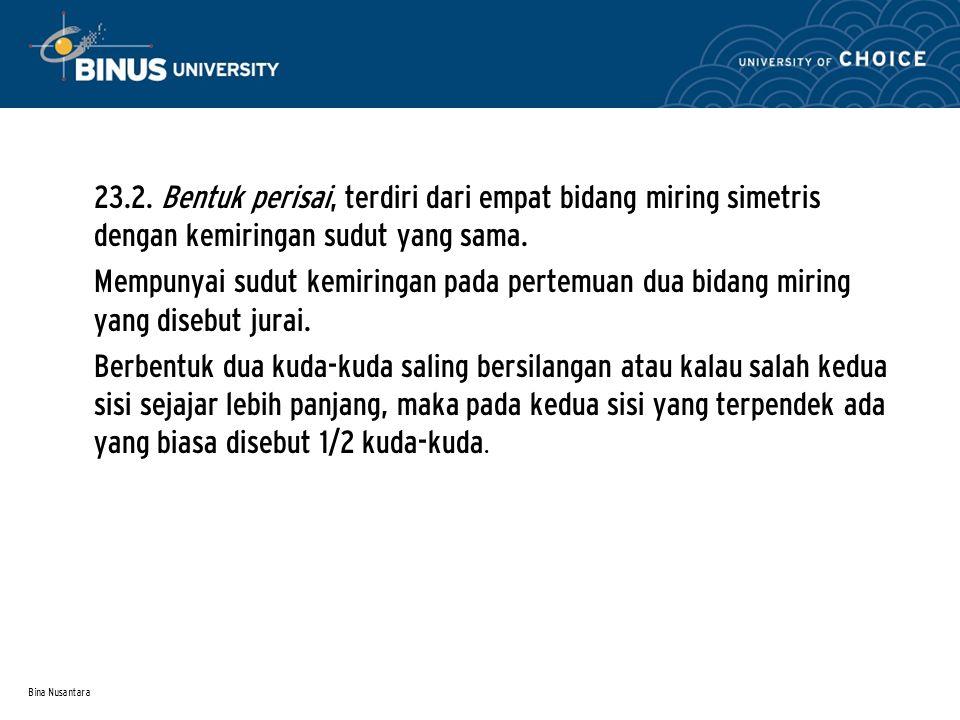 Bina Nusantara • 23.2. Bentuk perisai, terdiri dari empat bidang miring simetris dengan kemiringan sudut yang sama. • Mempunyai sudut kemiringan pada