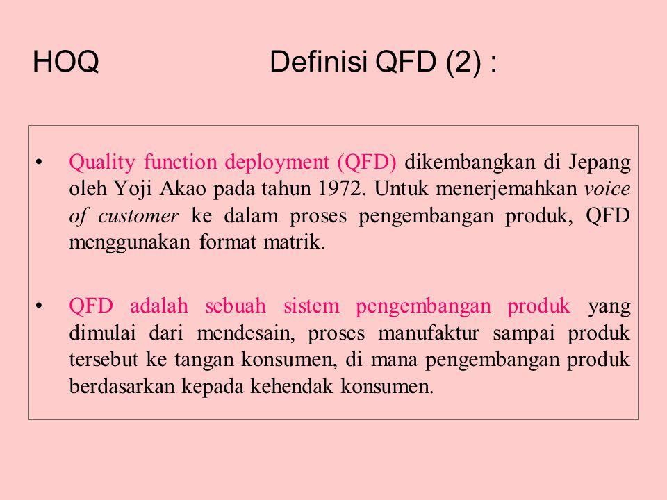 Definisi QFD (2) : •Quality function deployment (QFD) dikembangkan di Jepang oleh Yoji Akao pada tahun 1972. Untuk menerjemahkan voice of customer ke