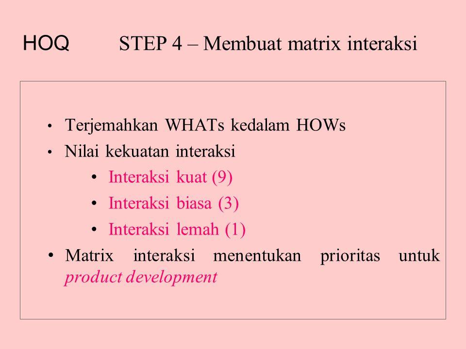 STEP 4 – Membuat matrix interaksi • Terjemahkan WHATs kedalam HOWs • Nilai kekuatan interaksi •Interaksi kuat (9) •Interaksi biasa (3) •Interaksi lemah (1) • Matrix interaksi menentukan prioritas untuk product development HOQ