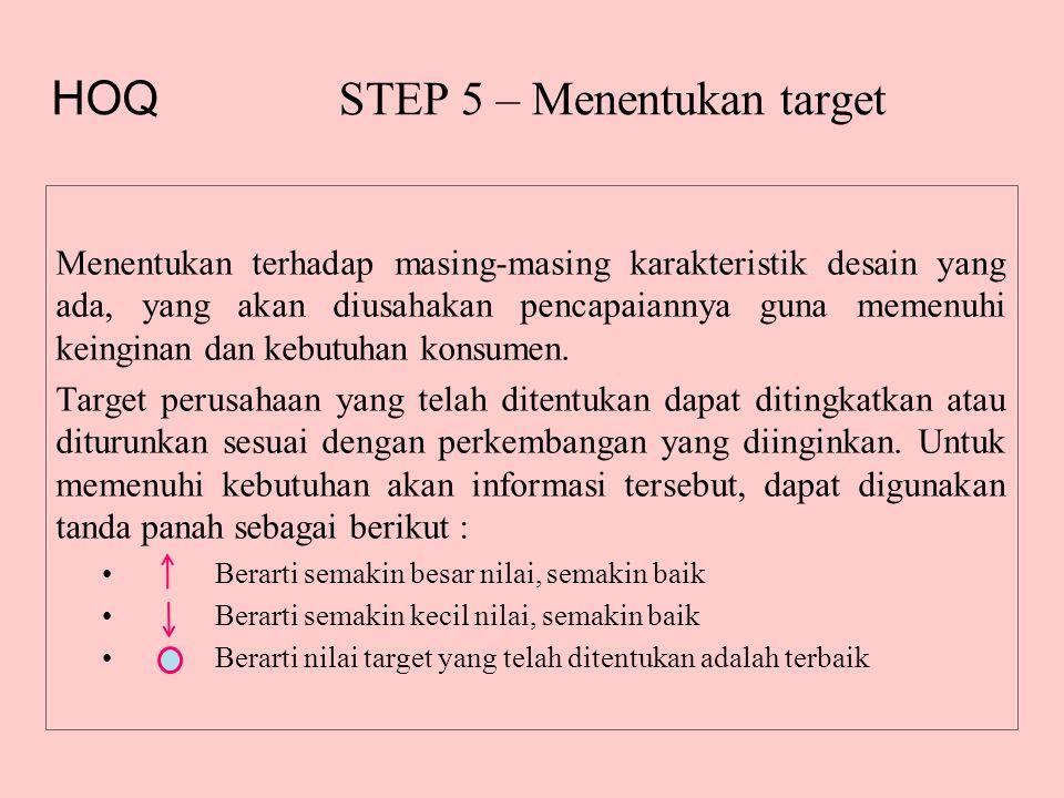 STEP 5 – Menentukan target Menentukan terhadap masing-masing karakteristik desain yang ada, yang akan diusahakan pencapaiannya guna memenuhi keinginan dan kebutuhan konsumen.