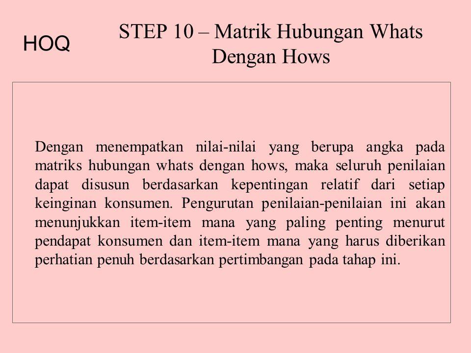 STEP 10 – Matrik Hubungan Whats Dengan Hows Dengan menempatkan nilai-nilai yang berupa angka pada matriks hubungan whats dengan hows, maka seluruh penilaian dapat disusun berdasarkan kepentingan relatif dari setiap keinginan konsumen.