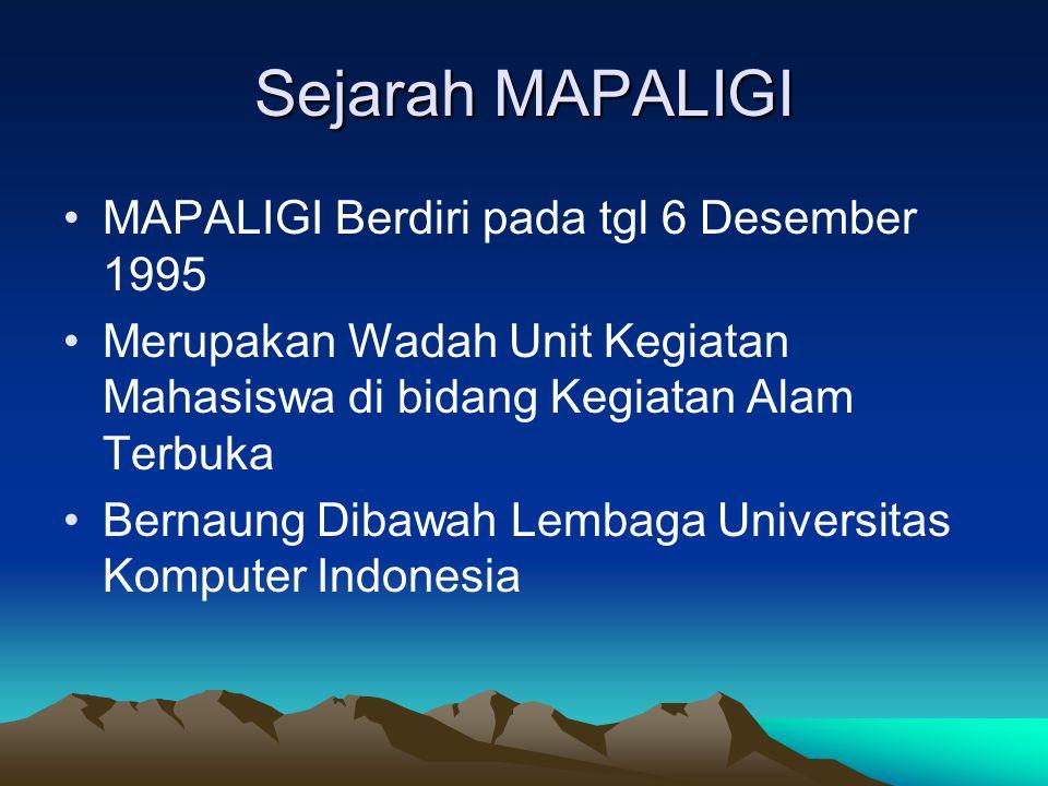Sejarah MAPALIGI •MAPALIGI Berdiri pada tgl 6 Desember 1995 •Merupakan Wadah Unit Kegiatan Mahasiswa di bidang Kegiatan Alam Terbuka •Bernaung Dibawah