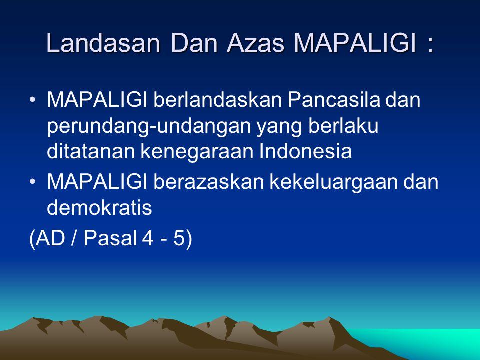 Landasan Dan Azas MAPALIGI : •MAPALIGI berlandaskan Pancasila dan perundang-undangan yang berlaku ditatanan kenegaraan Indonesia •MAPALIGI berazaskan