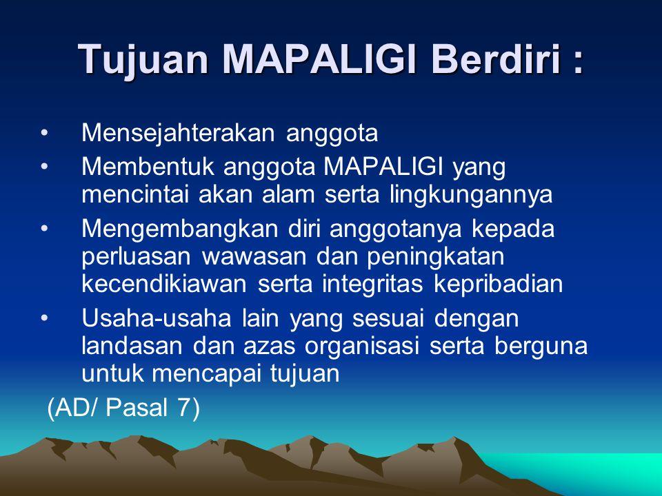 Tujuan MAPALIGI Berdiri : •Mensejahterakan anggota •Membentuk anggota MAPALIGI yang mencintai akan alam serta lingkungannya •Mengembangkan diri anggot