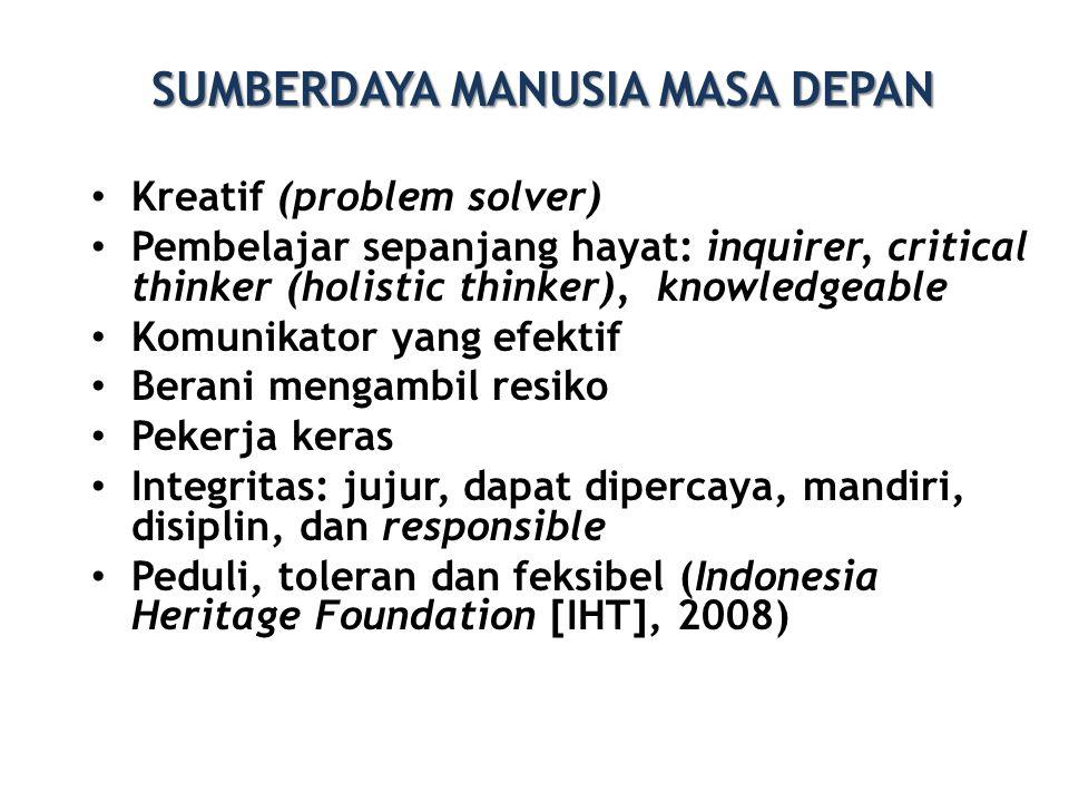 SUMBERDAYA MANUSIA MASA DEPAN • Kreatif (problem solver) • Pembelajar sepanjang hayat: inquirer, critical thinker (holistic thinker), knowledgeable •