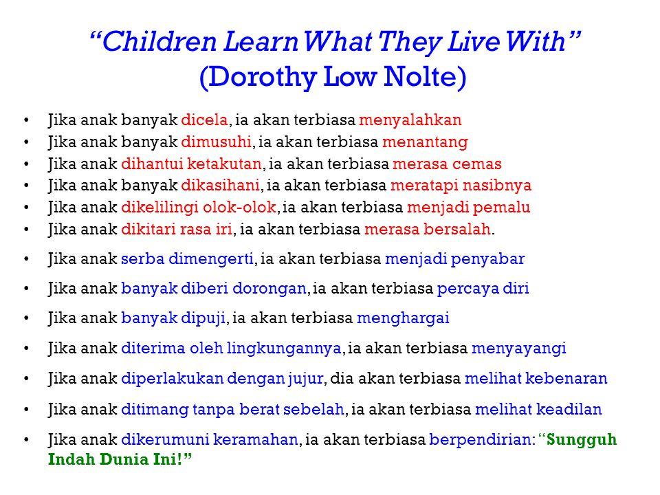 """Children Learn What They Live With"" (Dorothy Low Nolte) • Jika anak banyak dicela, ia akan terbiasa menyalahkan • Jika anak banyak dimusuhi, ia akan"