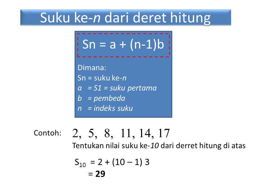 Sn = a + (n-1)b Dimana: Sn = suku ke-n a = S1 = suku pertama b = pembeda n = indeks suku 2, 5, 8, 11, 14, 17 Tentukan nilai suku ke-10 dari derret hitung di atas Contoh: S 10 = 2 + (10 – 1) 3 = 29