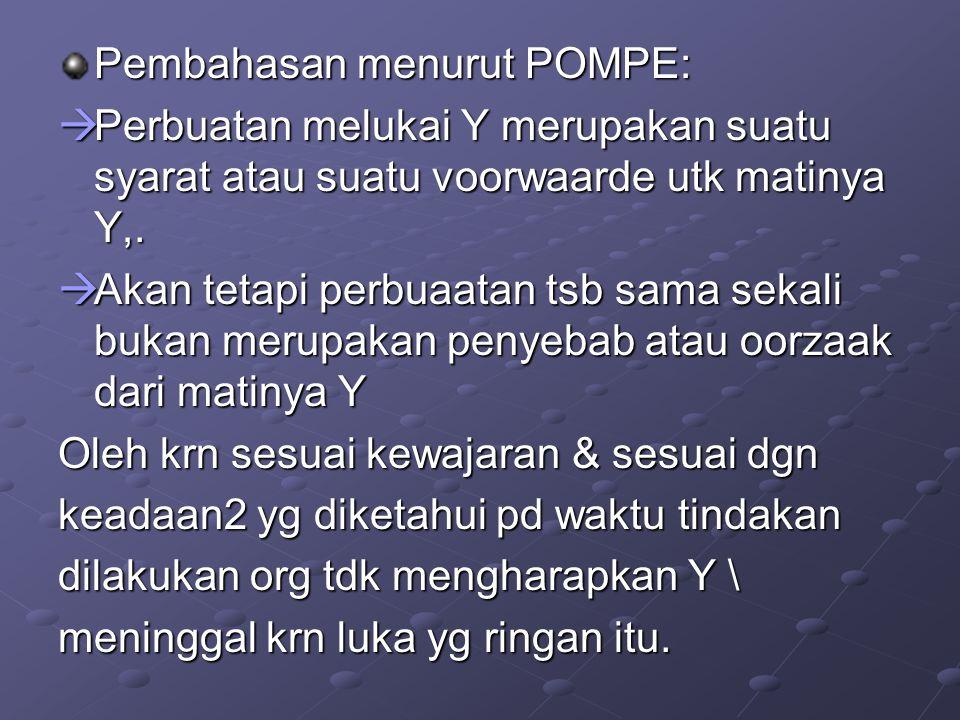 Pembahasan menurut POMPE:  Perbuatan melukai Y merupakan suatu syarat atau suatu voorwaarde utk matinya Y,.