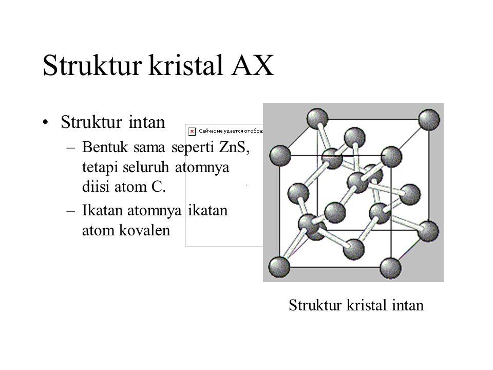 Struktur kristal AX •Struktur intan –Bentuk sama seperti ZnS, tetapi seluruh atomnya diisi atom C.