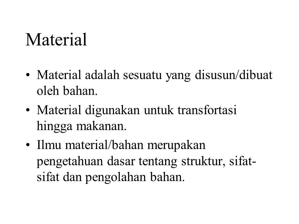 Material •Material adalah sesuatu yang disusun/dibuat oleh bahan.