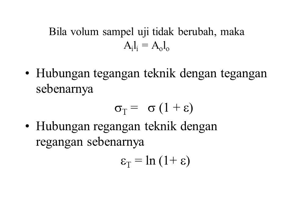 Bila volum sampel uji tidak berubah, maka A i l i = A o l o •Hubungan tegangan teknik dengan tegangan sebenarnya  T =  (1 +  ) •Hubungan regangan teknik dengan regangan sebenarnya  T = ln (1+  )
