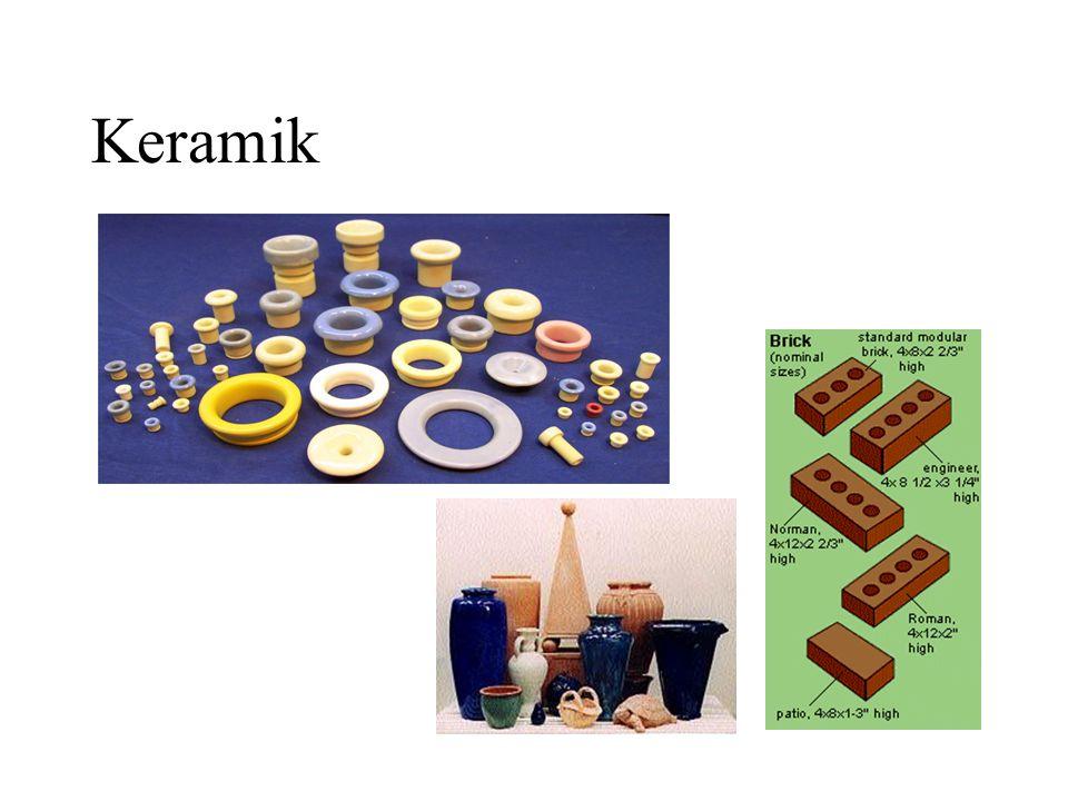 Keramik •Senyawa logam atau bukan logam yang mempunyai ikatan atom ionik dan kovalen •Ikatan ionik dan kovalen menyebabkan keramik mempunyai titik lebur tinggi dan bersifat isolator •Keramik terdiri dari –Keramik tradisional, disusun oleh tanah liat, silika dan feldspar.