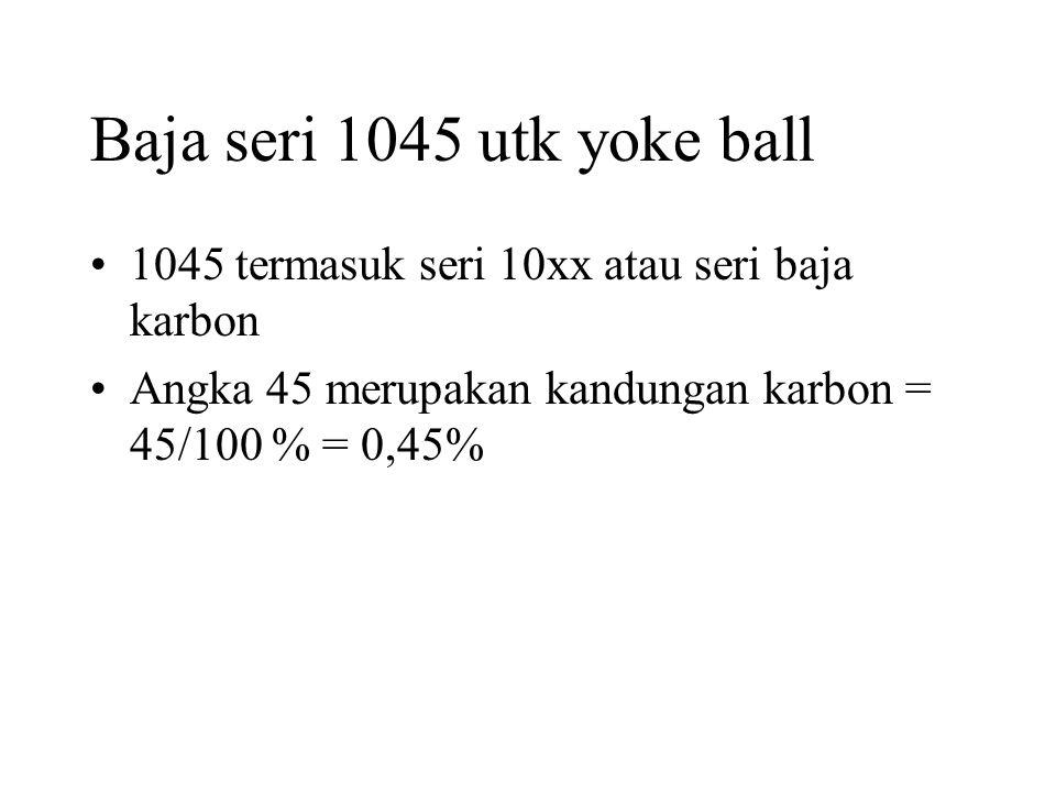 Baja seri 1045 utk yoke ball •1045 termasuk seri 10xx atau seri baja karbon •Angka 45 merupakan kandungan karbon = 45/100 % = 0,45%