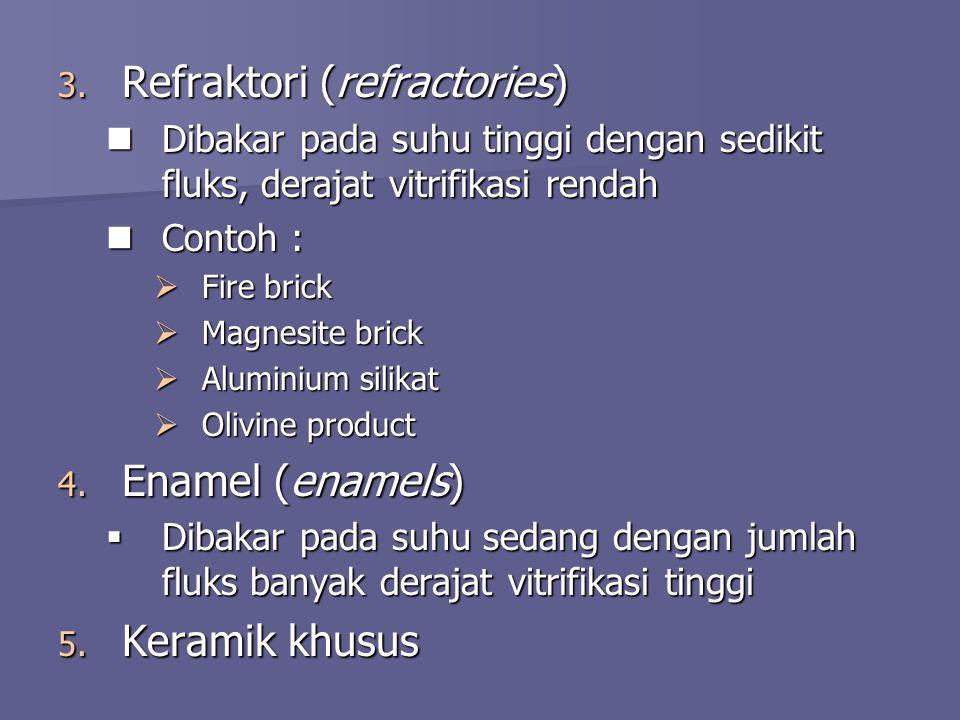 3. Refraktori (refractories)  Dibakar pada suhu tinggi dengan sedikit fluks, derajat vitrifikasi rendah  Contoh :  Fire brick  Magnesite brick  A