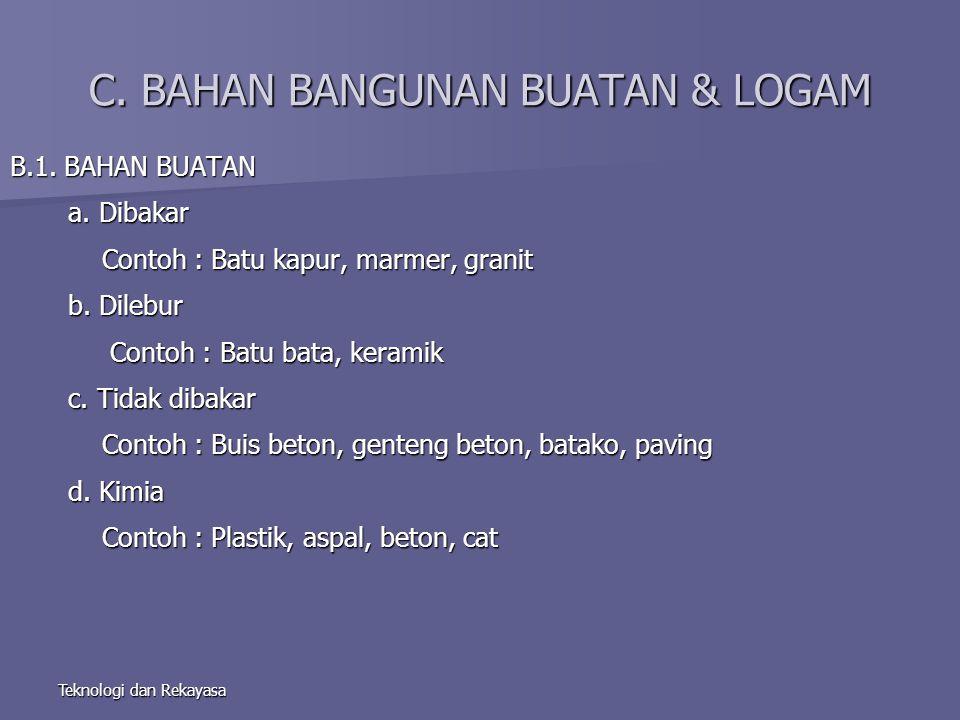 Teknologi dan Rekayasa C.BAHAN BANGUNAN BUATAN & LOGAM B.1.