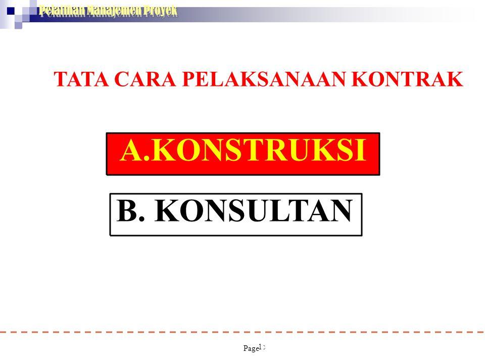 Pelatihan Manajemen Proyek 15 A.KONSTRUKSI B. KONSULTAN TATA CARA PELAKSANAAN KONTRAK (Permen PU no 63/PRT/M/2005,Permen PU No 33/PRT/M/2006 Ir.T.Rein