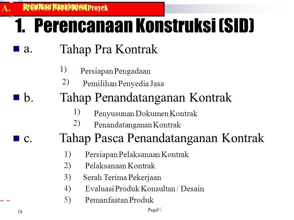 KONSTRUKSI Proyek 16 Pelatihan Manajemen 1. Perencanaan Konstruksi (SID)  a. b. Tahap Pra Kontrak 1) Persiapan Pengadaan 2) Pemilihan Penyedia Jas