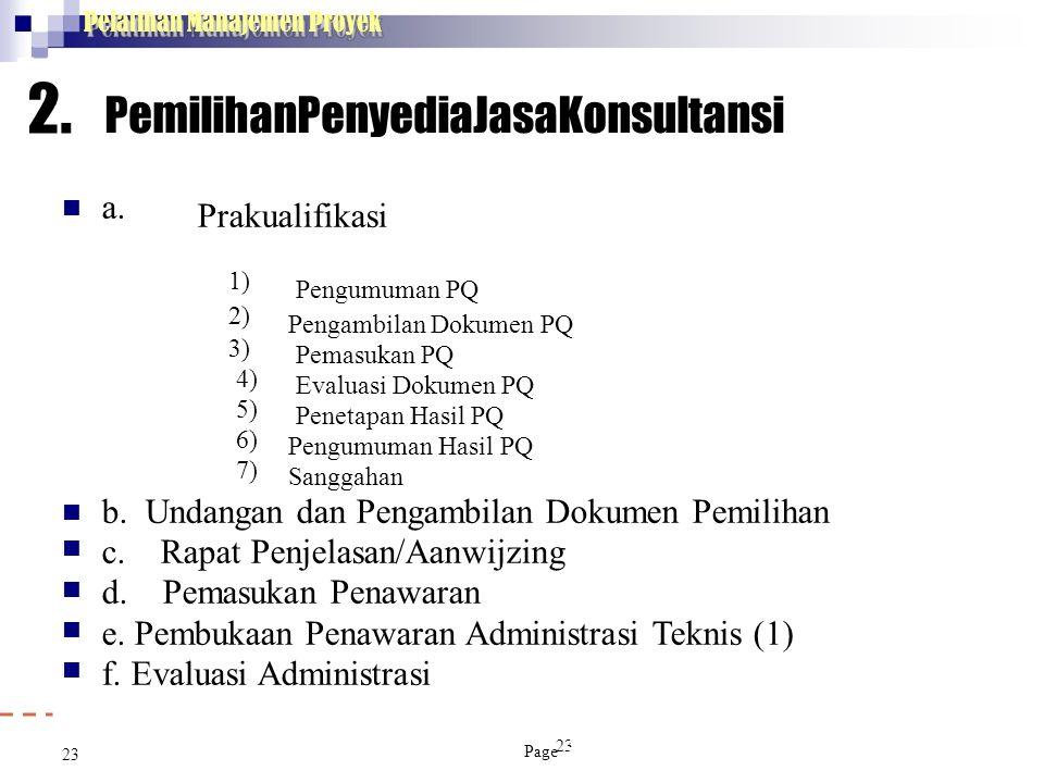 Pelatihan Manajemen Proyek 23 2. PemilihanPenyediaJasaKonsultansi  a. Prakualifikasi 1) Pengumuman PQ 2) Pengambilan Dokumen PQ 3) Pemasukan PQ 4) Ev
