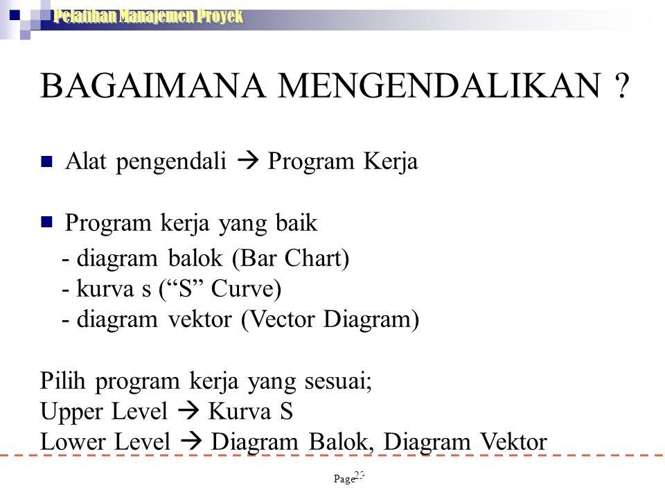 29 Pelatihan Manajemen Proyek BAGAIMANA MENGENDALIKAN ?  Alat pengendali  Program Kerja Program kerja yang baik - diagram balok (Bar Chart) - kur