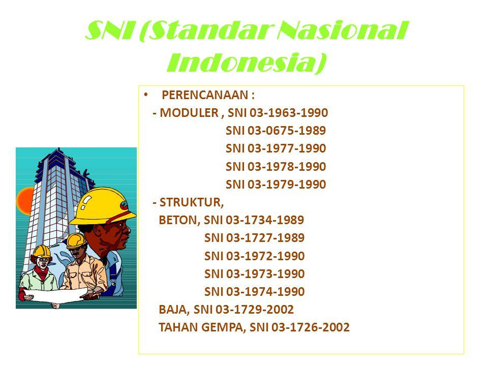 SNI (Standar Nasional Indonesia) • PERENCANAAN : - MODULER, SNI 03-1963-1990 SNI 03-0675-1989 SNI 03-1977-1990 SNI 03-1978-1990 SNI 03-1979-1990 - STR