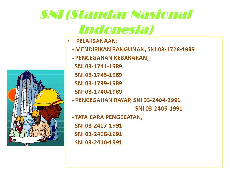 SNI (Standar Nasional Indonesia) • PELAKSANAAN: - MENDIRIKAN BANGUNAN, SNI 03-1728-1989 - PENCEGAHAN KEBAKARAN, SNI 03-1741-1989 SNI 03-1745-1989 SNI