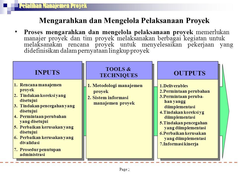 2 INPUTS 1. Rencana manajemen proyek 2. Tindakan koreksi yang disetujui 3. Tindakan pencegahan yang disetujui 4. Permintaan perubahan yang disetujui 5