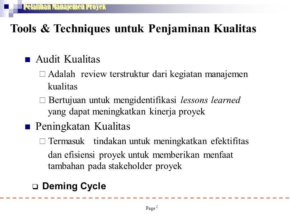 4 Pelatihan Manajemen Proyek Tools & Techniques untuk Penjaminan Kualitas  Audit Kualitas  Adalahreview terstruktur dari kegiatan manajemen kualitas