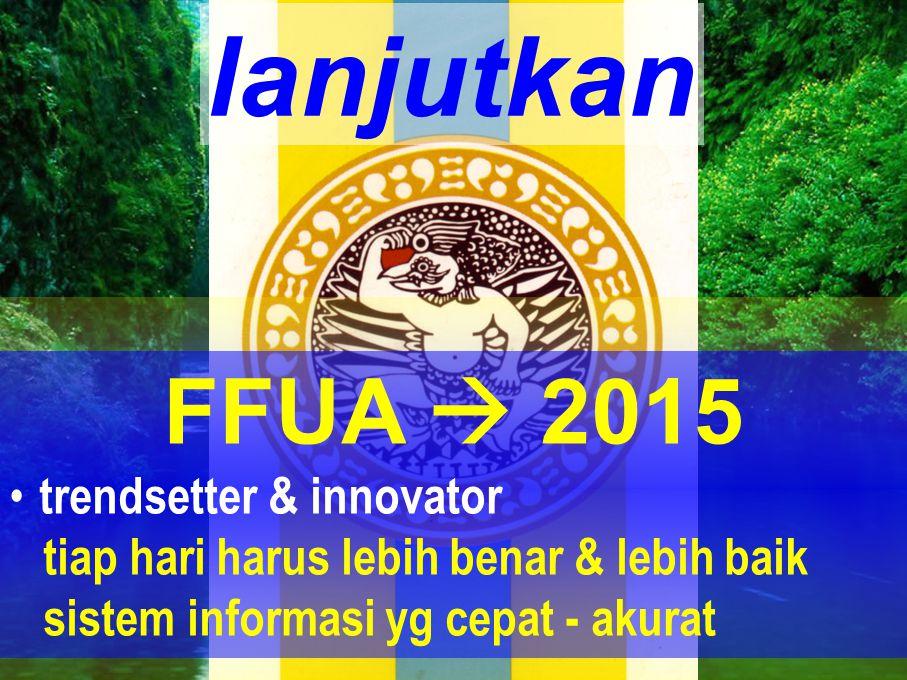lanjutkan FFUA  2015 • trendsetter & innovator tiap hari harus lebih benar & lebih baik sistem informasi yg cepat - akurat