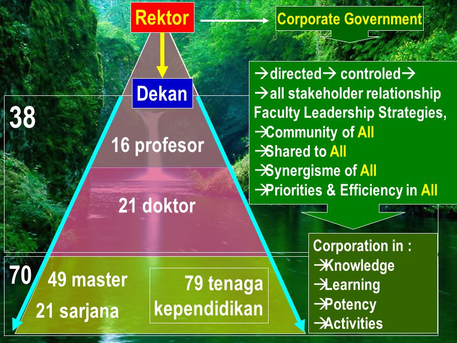 16 profesor 49 master 21 sarjana 21 doktor 70 38 Dekan Rektor Corporate Government  directed  controled   all stakeholder relationship Faculty Lea