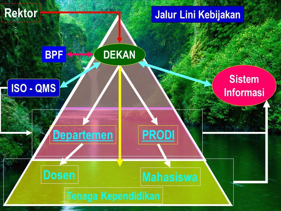 Rektor Sistem Informasi Jalur Lini Kebijakan Departemen DEKAN Dosen ISO - QMS PRODI Mahasiswa Tenaga Kependidikan BPF