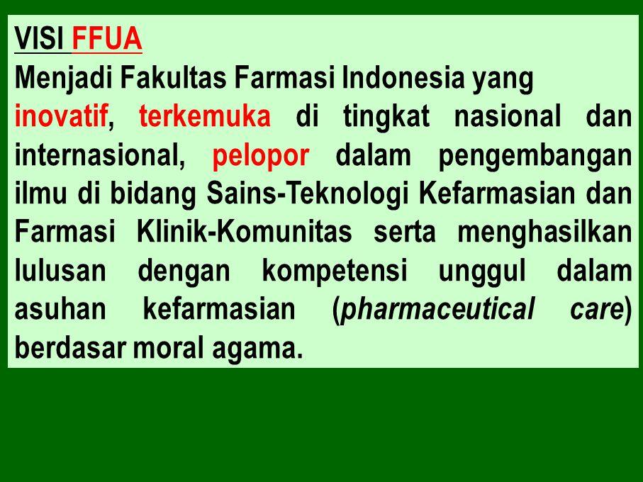 VISI FFUA Menjadi Fakultas Farmasi Indonesia yang inovatif, terkemuka di tingkat nasional dan internasional, pelopor dalam pengembangan ilmu di bidang